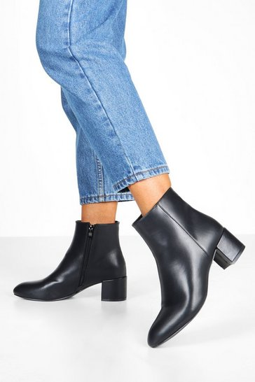 Black Basic Block Heel Shoe Boots