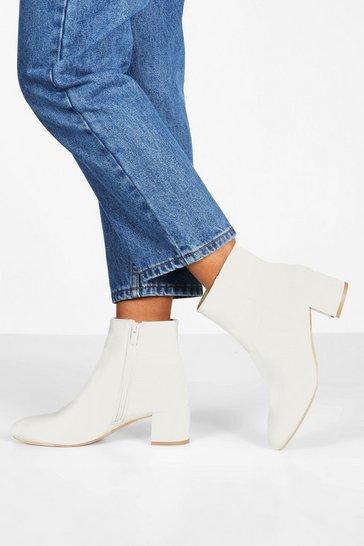 White Basic Block Heel Shoe Boots