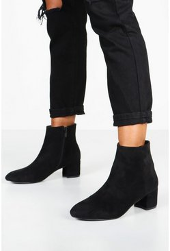 Black svart Basic Boots med blockklack