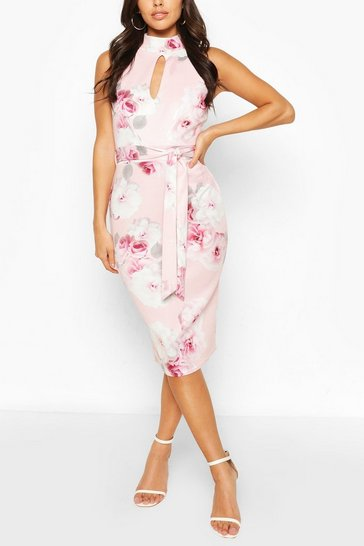 Pink High Neck Floral Cut Out Detail Midi Dress