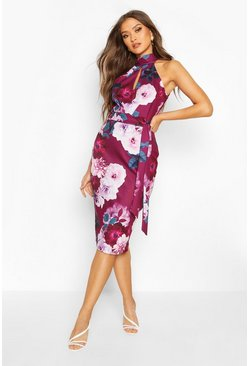 Plum purple High Neck Floral Cut Out Detail Midi Dress