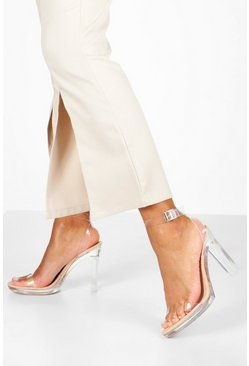 Nude Clear Platform Two Part Heels