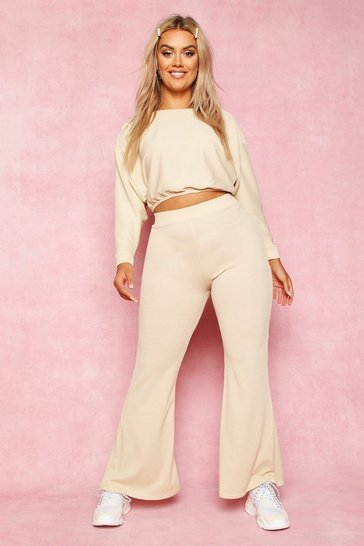 Stone beige Recycled Rib Fit and Flare Trousers