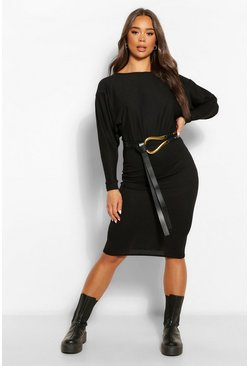 Black Recycled Wide Neck Rib Midi Dress