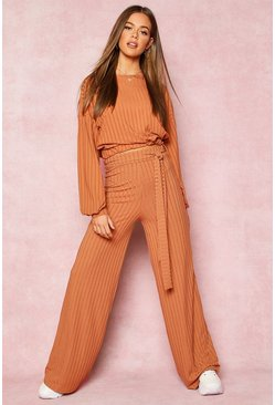 Tan brown Recycled Wide Leg Tie Waist Rib Trousers