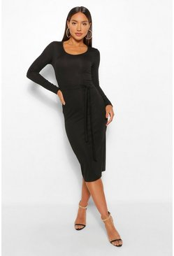 Black Recycled Tie Waist Rib Midi Dress