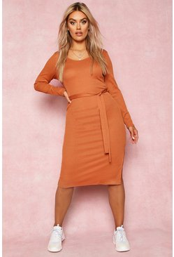 Tan brown Recycled Tie Waist Rib Midi Dress