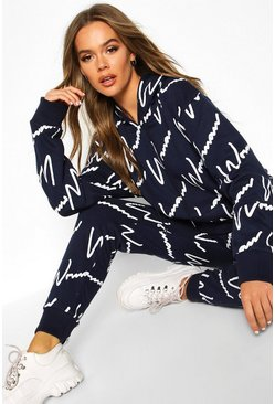 Navy Woman All Over Print Hooded Tracksuit