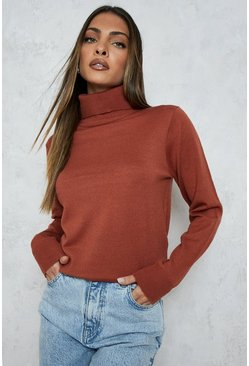 Chestnut brown Roll Neck Knitted Jumper