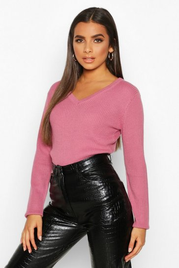 Antique rose pink V Neck Rib Knit Jumper