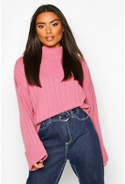 Antique rose pink Wide Sleeve Rib Knit Jumper