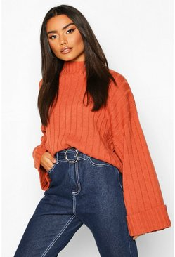 Chestnut brown Wide Sleeve Rib Knit Jumper