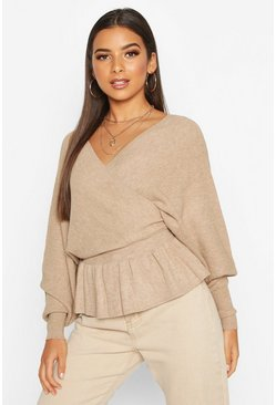Beige Batwing Wrap Front Slouchy Jumper