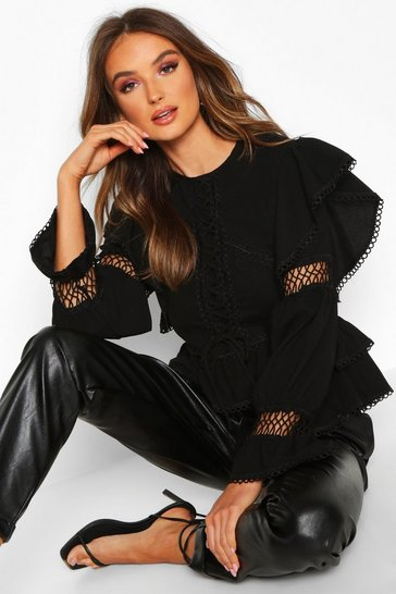 Black Lace Up Crochet Ruffle Detail Top