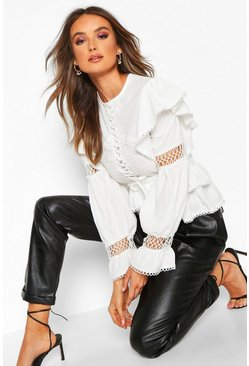 White Lace Up Crochet Ruffle Detail Top