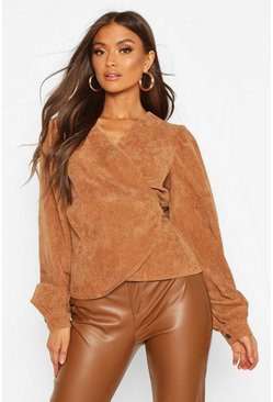 Camel beige Cord Wrap Puff Sleeve Top