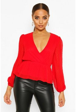 Red Dobby Spot Wrap Peplum Top