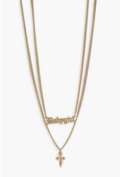 Gold metallic Cross And Chunky Chain Necklace
