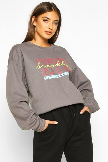 Charcoal NYC Brooklyn Slogan Print Sweatshirt