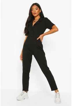 Taupe Soft Ribbed Collar Detail Button Through Jumpsuit