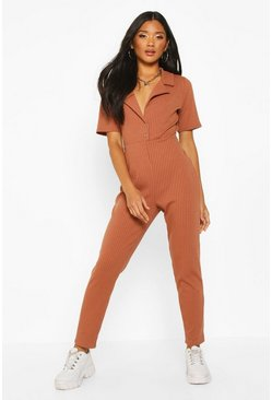 Toffee beige Soft Ribbed Collar Detail Button Through Jumpsuit