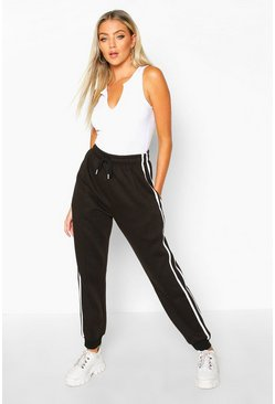Black Regular Fit Joggingbroek Met Zijstreep