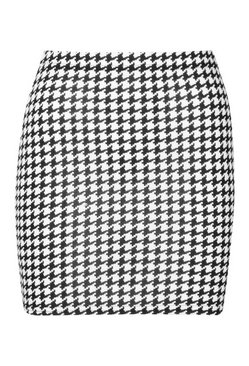 Black Large Dogtooth Check Jersey Mini Skirt