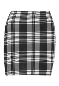 Black Mono Check Jersey Mini Skirts