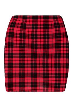 Red Tartan Check Jersey Mini Skirts