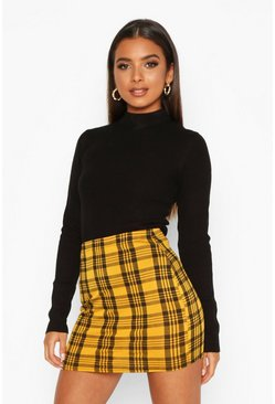Yellow Checked Jersey Mini Skirt