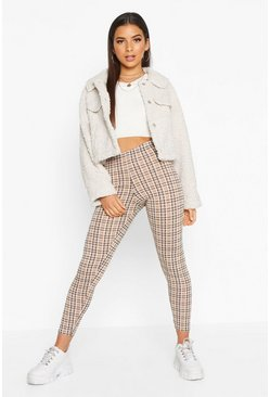 Camel Tonal Check Basic Jersey Leggings