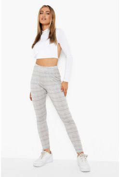 Black Dogtooth Check Basic Jersey Leggings