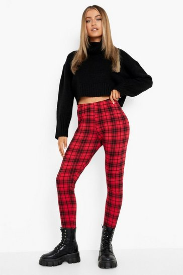 Red Tartan Check Basic Jersey Leggings