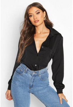 Black Oversized Pocket Detail Satin Shirt