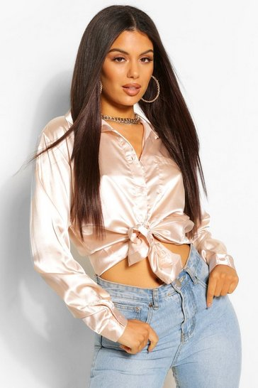 Champagne beige Beige Oversized Pocket Detail Satin Shirt