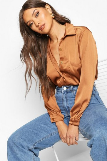 Mocha beige Beige Oversized Pocket Detail Satin Shirt