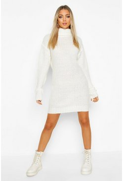 Cream white Turtleneck Fisherman Sweater Dress