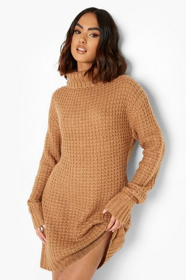 Toffee beige Roll Neck Fisherman Jumper Dress