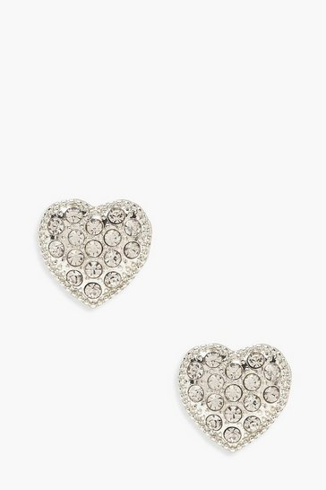 Silver Diamante Heart Stud Earrings