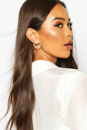 Silver Diamante Open Circle Stud Earrings