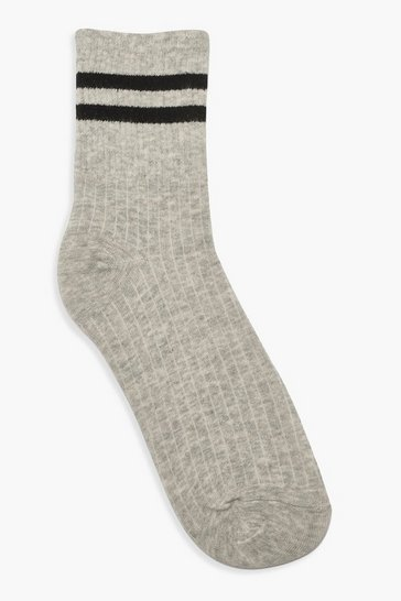 Grey Sports Stripe Ankle Socks