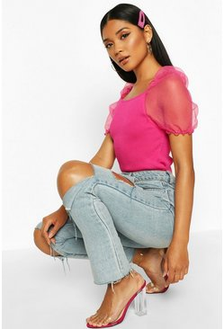 Neon-pink pink Short Sleeve Organza Puff Sleeve Top