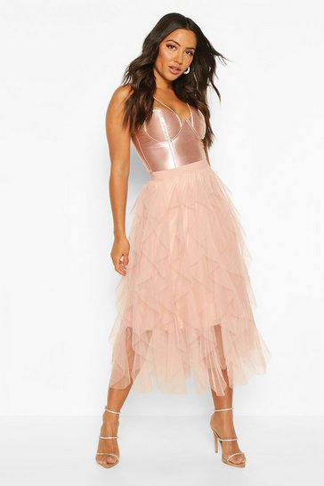 Nude Layered Tulle Midi Skirt