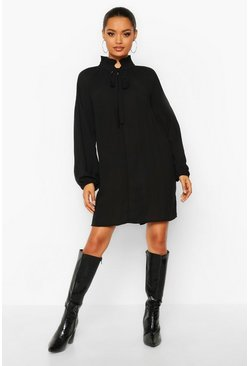 Black Pussy Bow Pleated Shift Dress