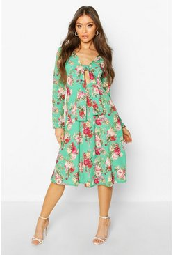Green Floral Print Tie Front Woven Midi Dress