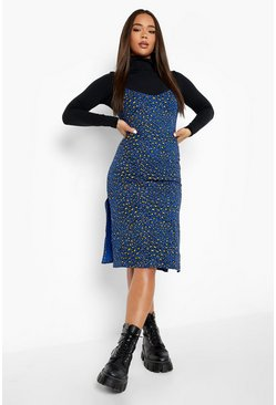 Blue Leopard Print Jersey Slip Midi Dress