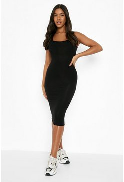 Black Basic Square Neck Bodycon Midi Dress