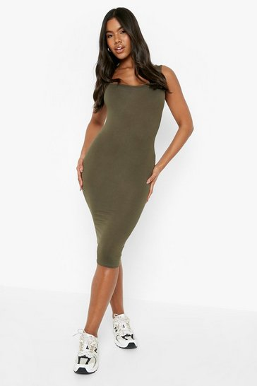 Khaki Basic Square Neck Bodycon Midi Dress