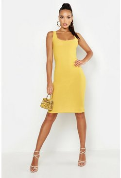 Mustard yellow Basic Square Neck Bodycon Midi Dress