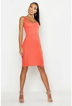Orange Basic Square Neck Bodycon Midi Dress